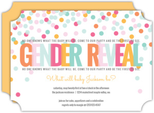 Colorful Confetti Baby Gender Reveal Party Invitation