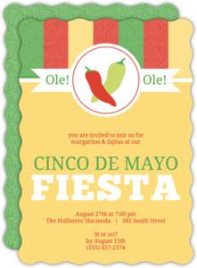 Chili Pepper Monogram Cinco De Mayo Invitation