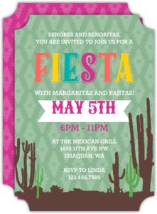 Cactus and Aztec Pattern Cinco De Mayo Party Invitation