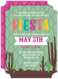 Cactus and Aztec Pattern Cinco De Mayo Party Invitation