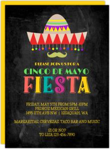 Mexican Sombrero Cinco De Mayo Party Invitation
