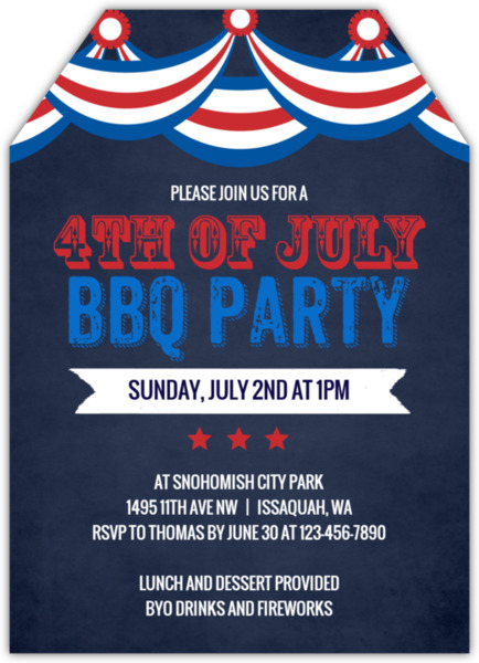 4th of july party invitations, Party invitations