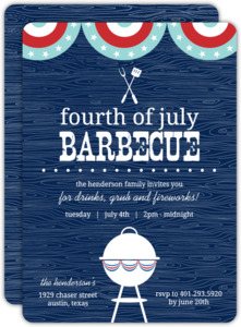 Navy Western BBQ 4th of July Party Invitation
