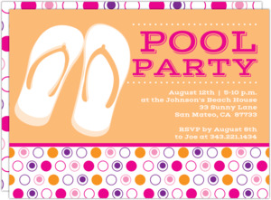 Flip Flops and Dots Pool Party Invitation