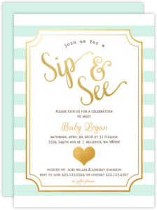 Modern Mint Faux Foil Sip and See Party Invitation