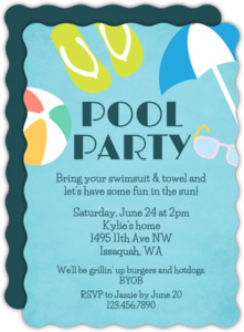 Fun In The Sun Pool Party Invitation
