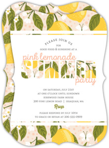 Fresh Pink Lemonade Summer Party Invitation