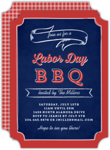 Red Gingham Chalk Labor Day Invitation