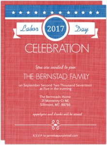 Red White and Blue Banner Labor Day Invitation