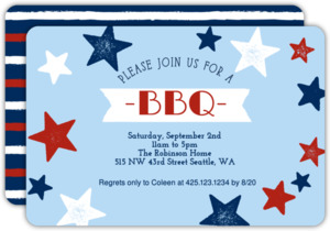 Red White and Bue Stars BBQ Invitation