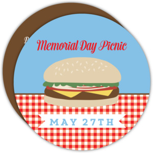 Brown and Red Picnic Memorial Day Invitation