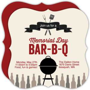 Memorial Day BBQ Grill Invitation