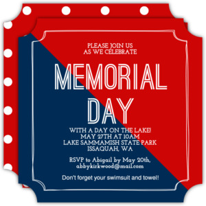 Colorblock Dots Memorial Day Invitation