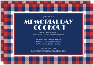 Summer Plaid Memorial Day Invitation