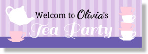 Purple and Pink Tea Party Banner