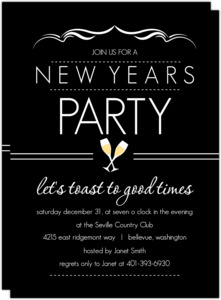 Elegant Black New Years Party Invite