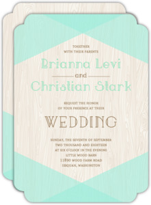 Mint & Rustic Woodgrain Wedding Invitation