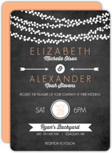 Chalk String Light Wedding Invitation