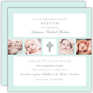 Gray Cross Multi Photo Baptism Invitation