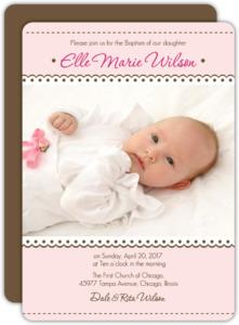 Lace Photo Baptism Invitation