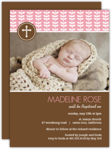 Floral And Brown Baptism Invitation