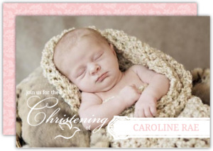 Elegant Photo Frame Christening Invitation