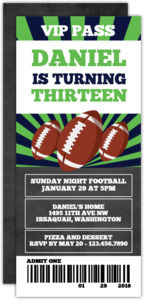 Sunday Football Teen Birthday Invitation