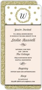 Gold Glitter Monogram Bridal Shower Invitation