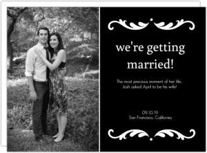 Black and White Photo Engagement Announcement