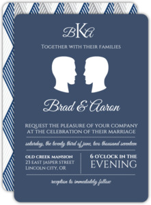 Sophisticated Silhouette Gay Wedding Invitation