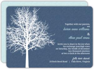 Navy Blue Winter Tree  Wedding Invite