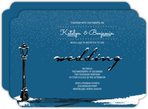 Whimsical Winter Night Wedding Invitation