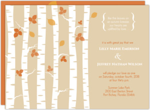 Birch Tree And Fall Leaves Wedding Invitation
