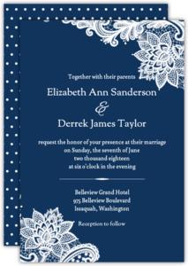 Navy Elegant Floral Lace Wedding Invitation