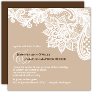 Brown and White Floral Lace  Wedding Invite
