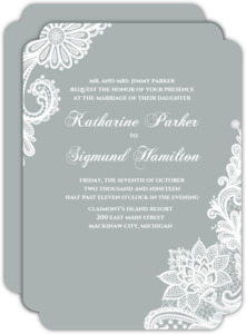 White Lace  Wedding Invitation