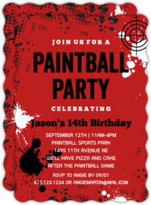 Paintball Splatter Birthday Party Invitation