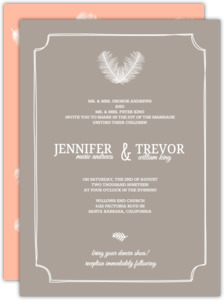 Taupe and Peach Feather Wedding Invitation