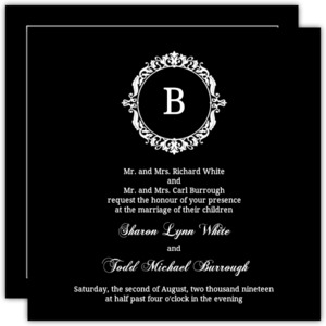 Black and White Elegant Monogram  Wedding Invitation
