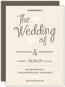 Brown and Cream Modern  Wedding Invitation