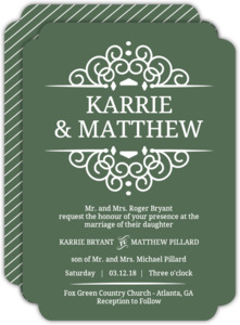 Olive and White Intricate Frame  Wedding Invitation