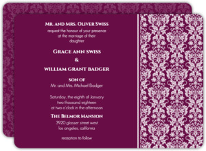 Sangria and Black Elegant Damask  Wedding Invitation