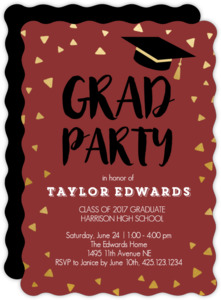 Gold Confetti Cap Graduation Party Invitation