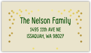 Ivory Linen Green and Faux Gold Confetti Address Label