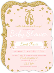 Pink and Gold Ballerina Baby Shower Invitation