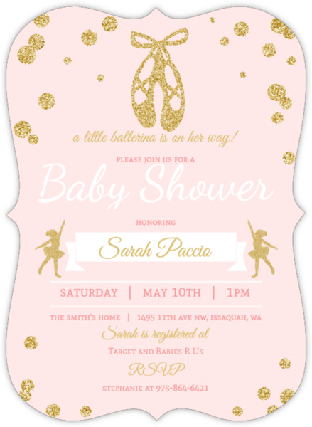 pink and gold ballerina baby shower invitation | ballerina baby, Baby shower invitations