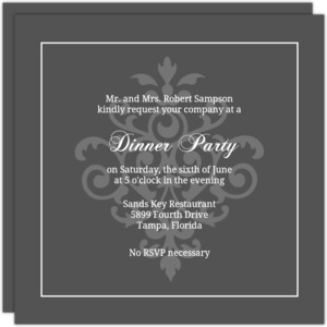 Grey And Elegant White Flourish Dinner Invite