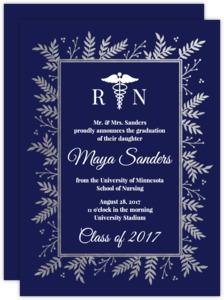 Navy & Silver Foil Foliage Nursing School Graduation Invitation