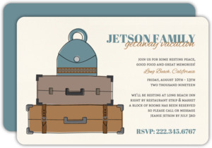 Vintage Bags & Luggage Family Vacation Invite