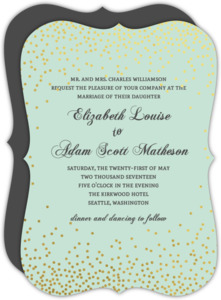 Mint Gold Foil Confetti Wedding Invitation